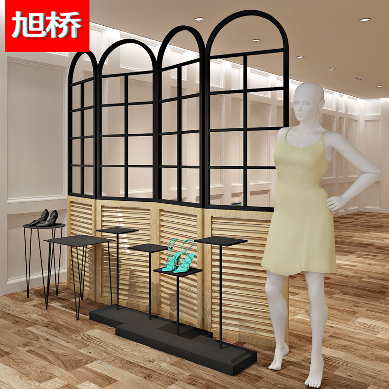 xu Bridge Clothing store display rack, iron art wooden folding partition partition rack, ...