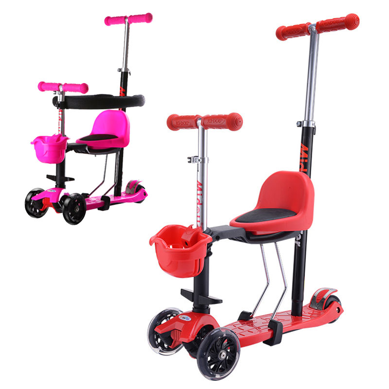 2 In 1 Children Kids Three Wheels Stroller Foldable Balance Scooter with Seat Baby Walker Stroller Child Tricycle Stroller 2~13Y musical 2 in 1 lion baby walker and can use as seat
