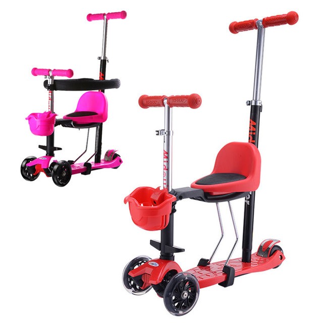 2 en 1 cochecito de tres ruedas para niños y niños, Scooter de equilibrio plegable con asiento para bebé, cochecito para niños, cochecito de triciclo 2 ~ 13Y