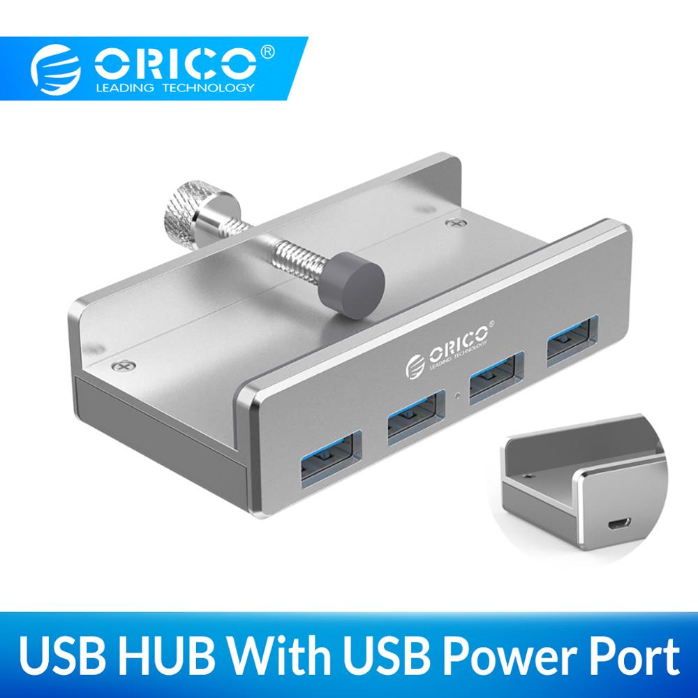 ORICO Aluminum 4 Ports USB 3.0 Clip HUB With Power Supply High Speed 5GBPS Data Transmission For MAC OS PC (MH4PU-P)