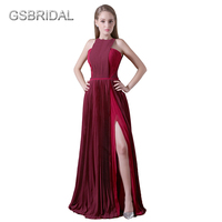 GSBRIDAL Two Colors One Side Slit Prom Evening Dress