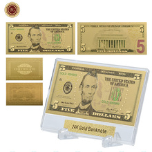 WR 5 dolar amerykańskie papierowe pieniądze z całego świata kolekcjonerskie kolorowe 24k 999 9 złota folia złoty banknot prezenty biznesowe z stojak tanie tanio Europa Patriotyzmu Pozłacane 44*28*3mm Plastic capsule Square 24K Gold Plated Clear Plastic Case