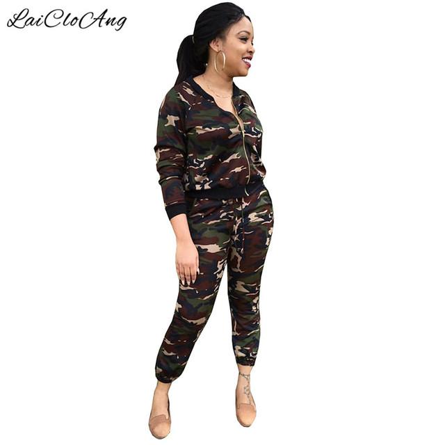 De dos Piezas de Chándal Verde Del Ejército Camuflaje Ropa de Mujer Set Otoño Invierno Chaquetas Casuales y Pantalones Patrón Imprimir Escudo WP480