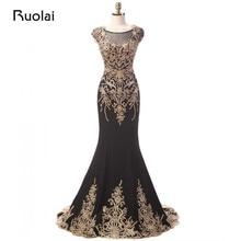 Hohe Qualität Dubai Scoop Gold Appliques Scoop Meerjungfrau Schwarz Abendkleider Lange Prom Kleider Formale Party Kleider 2017 FE56