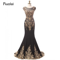 High Quality Dubai Scoop Gold Appliques Scoop Mermaid Black Evening Dresses Long Prom Dresses Formal Party Dresses 2017 FE56