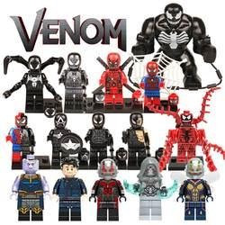 Для Legoings Marvel фигурки героев Venom Eddie человек паук Venompool резня здания Конструкторы DC Аквамен Бэтмен кирпич модель игрушечные лошадки