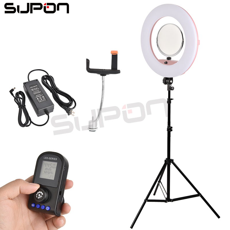 Supon Pink FE 480II 3200 5500K Dimmable Camera/phone Photographic Lighting 96W 480 LED Ring Light LED Lamp+ 2m tripod