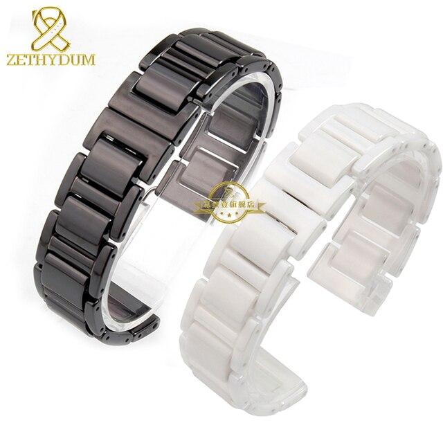Керамические ремешок для часов ремешок браслет белый или черный смотреть полоса 14 16 18 20 мм с девушкой наручные группы браслетов аксессуары