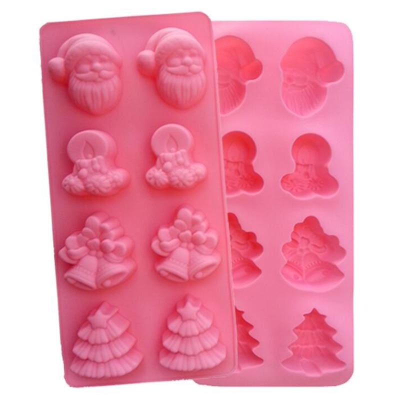 3D Christmas series Cake Mold 8 Cavity Pine tree Jingle Bell Shape Silicone Chocolate Non Stick