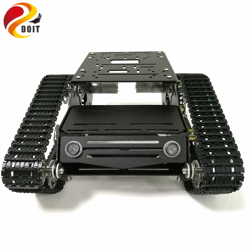 все цены на DOIT Robot Tracked Tank Chassis YP100 with Aluminum Alloy Frame Robotic Arm Interface Holes for Robot Project Graduation Design онлайн