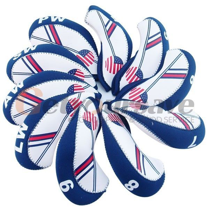 New 10pcs White &amp Blue USA Flag Neoprene Golf Club Iron Head Cover Headcover ...
