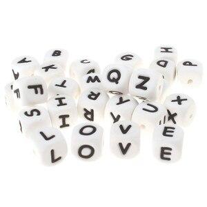 Image 3 - Perles de dentition Alphabet en Silicone, 100 pièces, 12mm, pour bébé infirmière, cadeau, de qualité alimentaire, ensemble rongeur