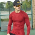 Casual fitness men long sleeve exercise stretch dry quick t shirt men thermal muscle bodybuilding compression tights tee shirt