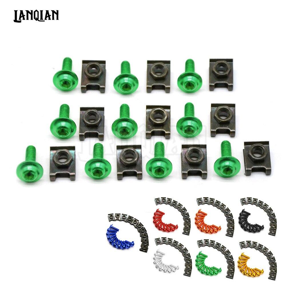 10PCS 6mm CNC motorcycle body work fairing bolts screwse for kawasaki zx6r/zx636r/zx6rr gsx1400 gsf650 gsx650f gsx1250 f/sa