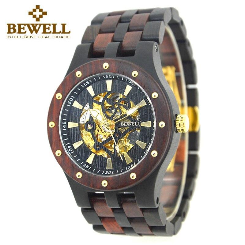 BEWELL männer Uhr Luxus Marke Unabhängige Design Uhr Mode Holz Uhr Armband Bambus Uhr Mann Neuesten uhr 131B-in Mechanische Uhren aus Uhren bei  Gruppe 2