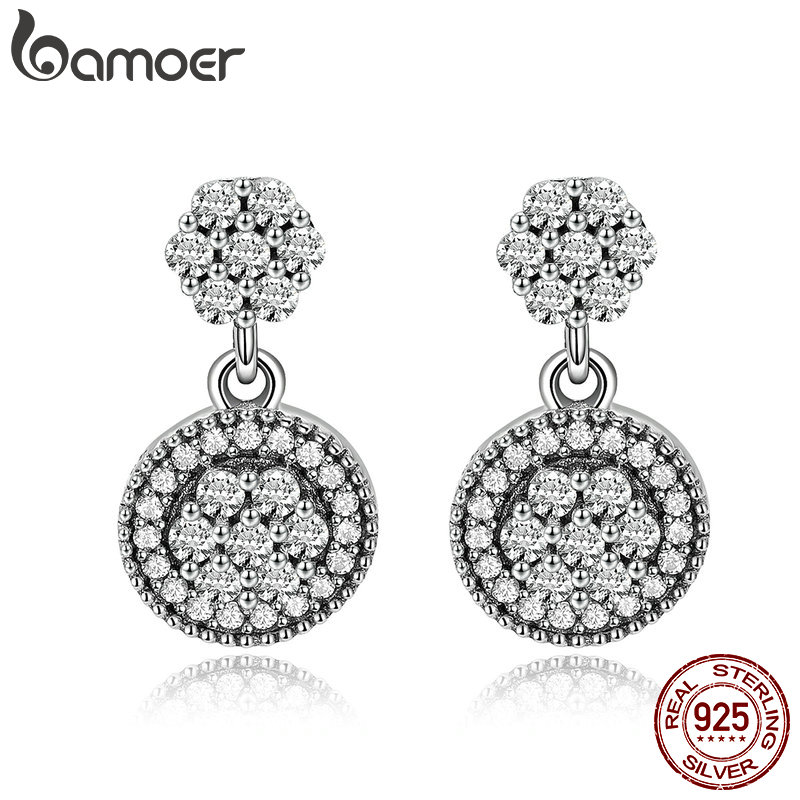 BAMOER 100% 925 Sterling Silver Radiant Elegance Round Geometric Stud Earrings for Women Sterling Silver Jewelry Gift SCE402 yoursfs women round earrings vintage zinc alloy simple geometric stud earrings jewelry female gift