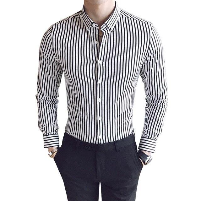 new product 83055 76a1f Neue 2017 Baumwolle Gestreiften Herren Hemden Langarm Freizeithemd männer  Koreanischen Stil Voller Chemise Mann Socail Slim Fit Männliches Hemd