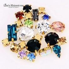 Смешанные цвета формы пришить стразы кристалл стекла с золотым коготь Установка страз Алмазные Камни DIY свадебное платье украшения