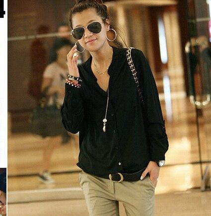 freeshipping Fashion plus size clothing shirt for fat girls womrn summer long-sleeve loose chiffon shirt polo shirt XL XXL XXXL