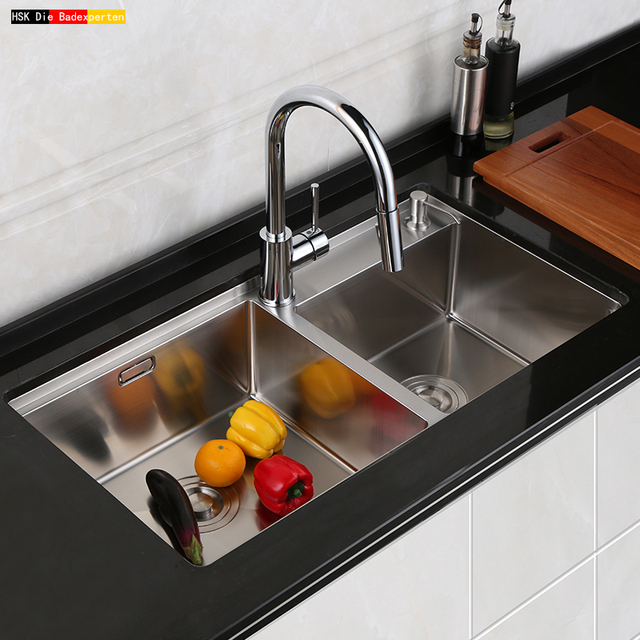 Hsk304 Stainless Steel Sink Palung Ganda Dapur Besar Wastafel Manual Set