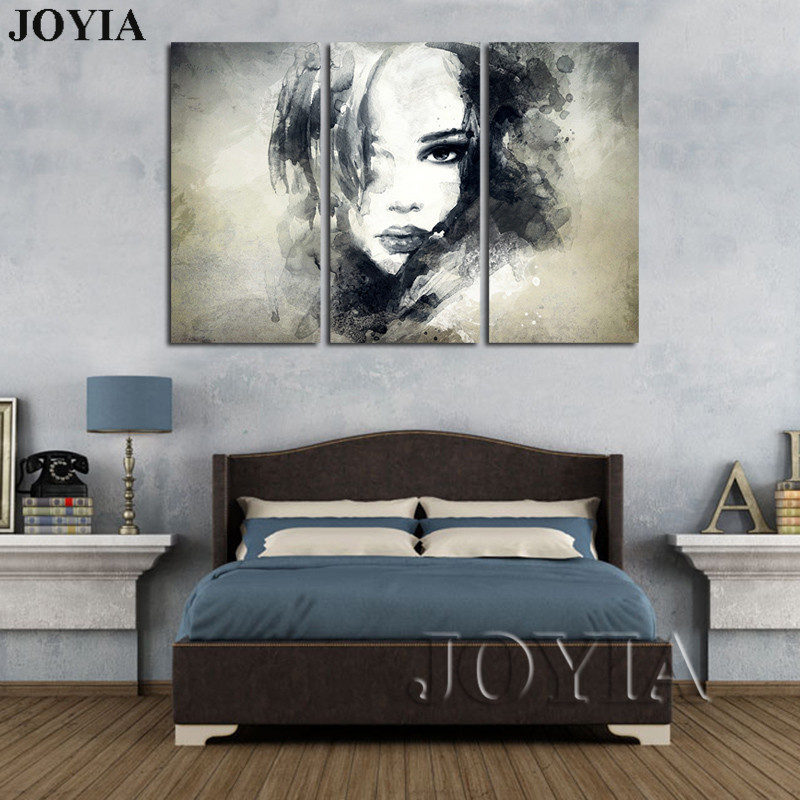 Wall decor canvas art painting watercolor black and white woman face abstract canvas prints bedroom decor pictures set no frame in painting calligraphy
