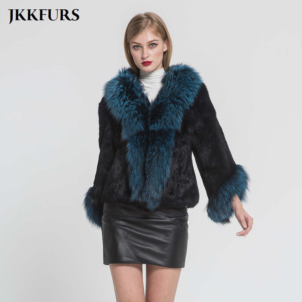 New Arrivals Women Fashion Real Rabbit Fur Coat With Silver Fox Fur Collar Winter Thick Warm