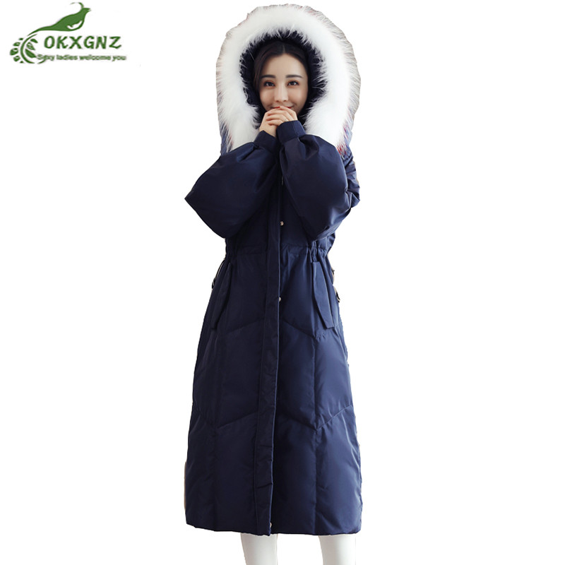 Winter large size women clothing fat mm down cotton jacket Female middle-long high-quality thicken warm jacket coat OKXGNZ AF544 winter jacket female parkas hooded fur collar long down cotton jacket thicken warm cotton padded women coat plus size 3xl k450