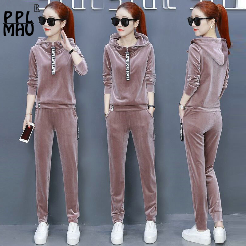 2019 Fashion Casual Women Two Piece Outfits Velvet Tracksuits Set Loose Hoodies Sweatshirt Top And Sport Pant Plus Size 3XL New