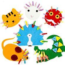 DIY Детский сад Математика обучающая игрушка ткань и деревянный зажим Детские Развивающие Игрушки для раннего обучения Монтессори