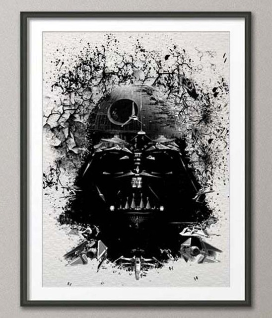 Original watercolor darth vader print canvas painting modern wall art poster prints pictures home decoration wall