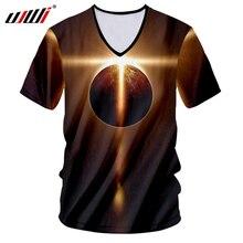 UJWI 3D Tshirt Print Starry Star Universe T-shirts V Neck Mens T Shirts Hombre Hip Hop Streetwear Unisex Short Sleeve Undershirt