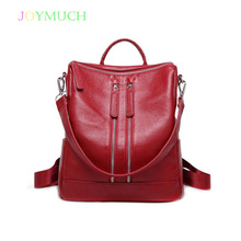 The first layer of cowhide ladies backpack leather 2018 Winter new simple female bag leisure business