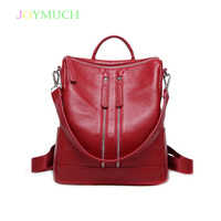 The first layer of cowhide ladies backpack leather 2018 Winter new simple female bag leisure business female backpack