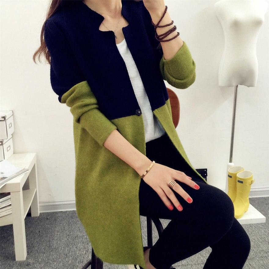 HTB1UIziCuuSBuNjSsplq6ze8pXaJ - 2018 Autumn Knitting Loose Women's Cardigans Patchwork Long Sleeve Simple jumper female cardigan Sweaters Korea Style Coats #Y5