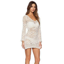 Summer Women White Cove Up Mini Dresses 2019 New Long Sleeve O-Neck Crochet Cover