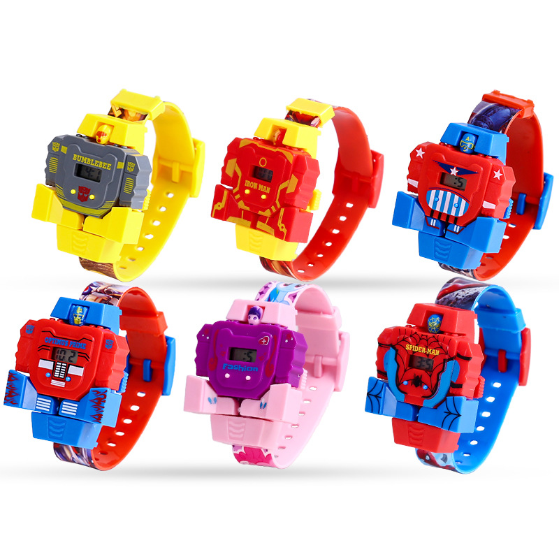 Children's Watches Cartoon Anime Spiderman Deformation Robot Toy Watch Waterproof LED Kids Watch Gift Reloj Relogio