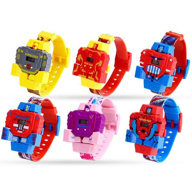 Children's Watches Cartoon Anime Spiderman Deformation Robot Toy Watch Waterproo