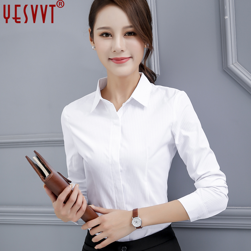 yesvvt 2017 new High quality womens tops and blouses women s long sleeve shirt white blouse