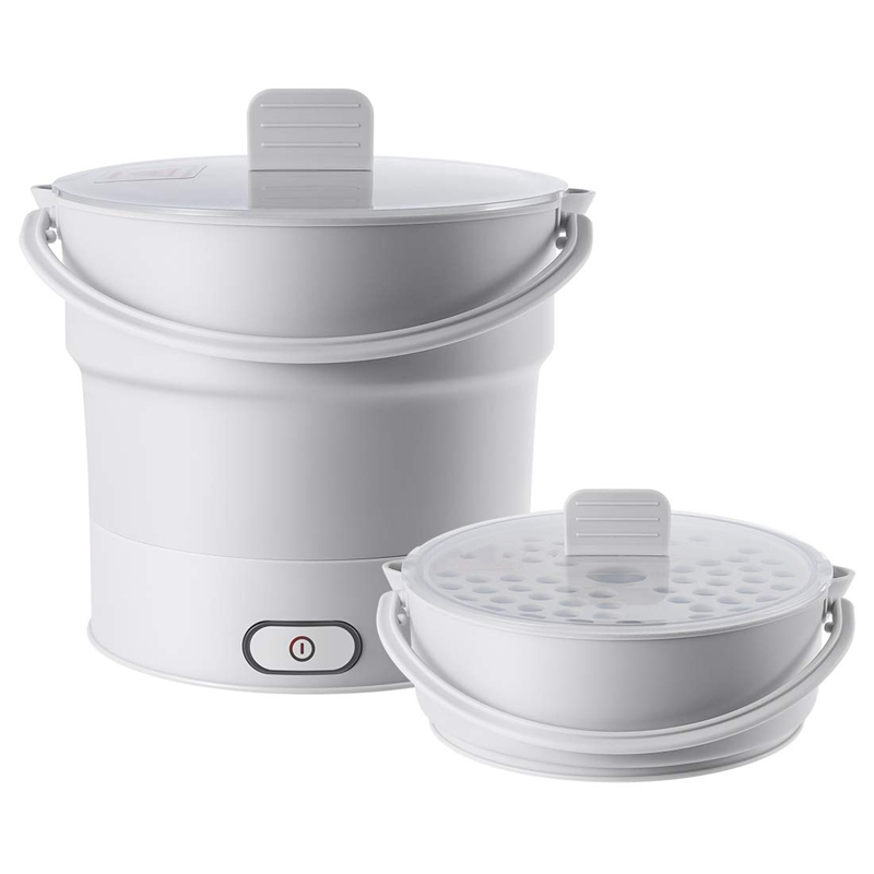 Folding Electric Skillet Kettle Heated Food Container Heated Lunch Box Cooker Portable Hot Pot Cooking Tea