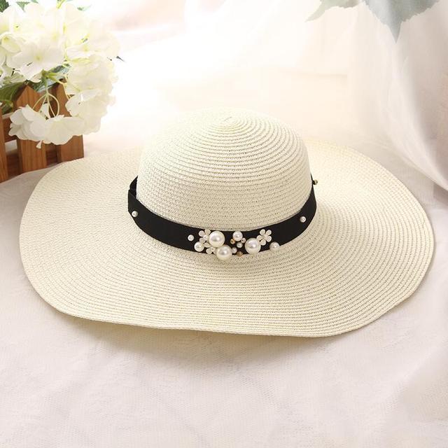 Gran oferta 2019 de sombreros de paja de ala ancha de rafia con parte superior redonda, sombreros de Sol de verano para mujeres con sombreros de playa de ocio, Gorras planas de señora 2