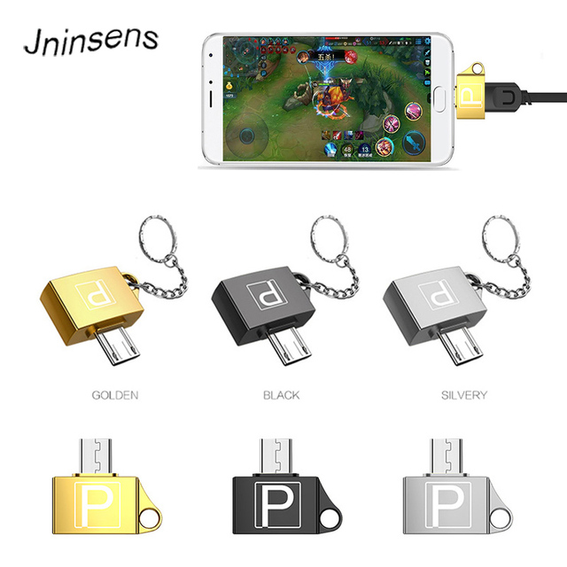 Metal USB 2.0 Female to Micro USB Male Mini Android OTG Adapter Microusb Converter Portable Connector with Key chain