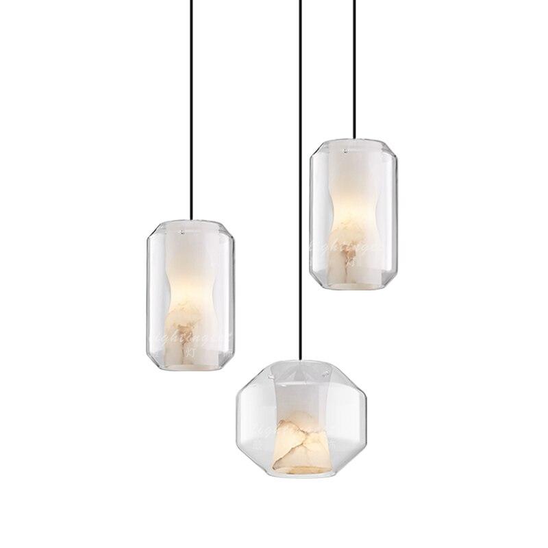 Ditoon pendentif LED postmoderne lumière salle à manger éclairage étude Design lampe verre forme Luminaire pierre motif blanc Lusters