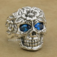 925 Sterling Silver Flower Skull CZ Eyes Mens Biker Rocker Punk Ring 9W205 US Size 7.5~15
