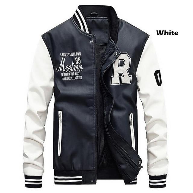 Men Baseball Leather Coats Slim Fit  Luxury Pilot Jackets 4
