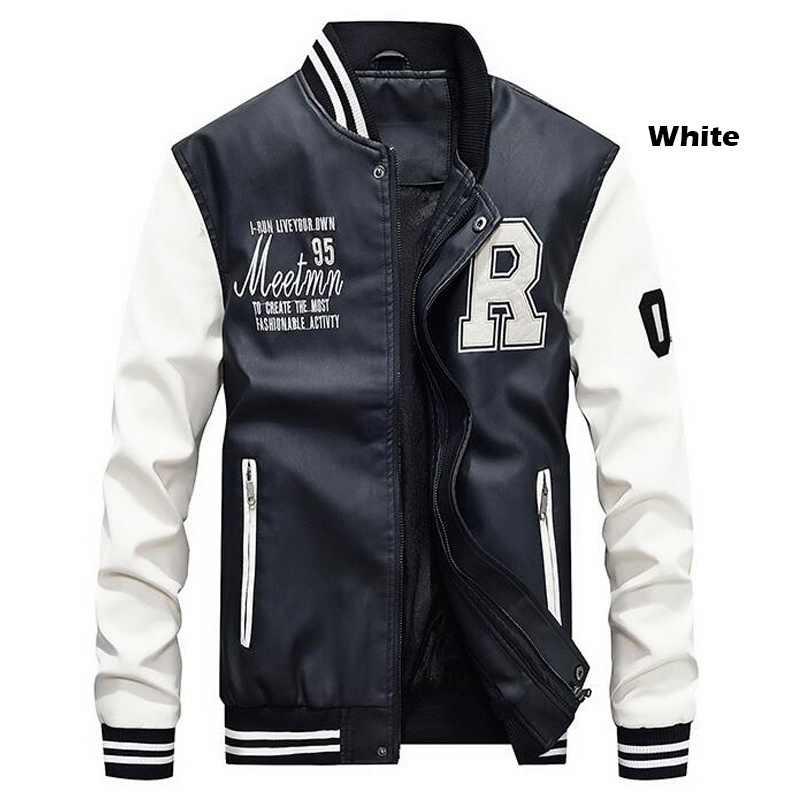 Мужская бейсбольная куртка с вышивкой из искусственной кожи, пальто Slim Fit college, роскошные флисовые куртки для пилотов, мужская куртка с воротником-стойкой