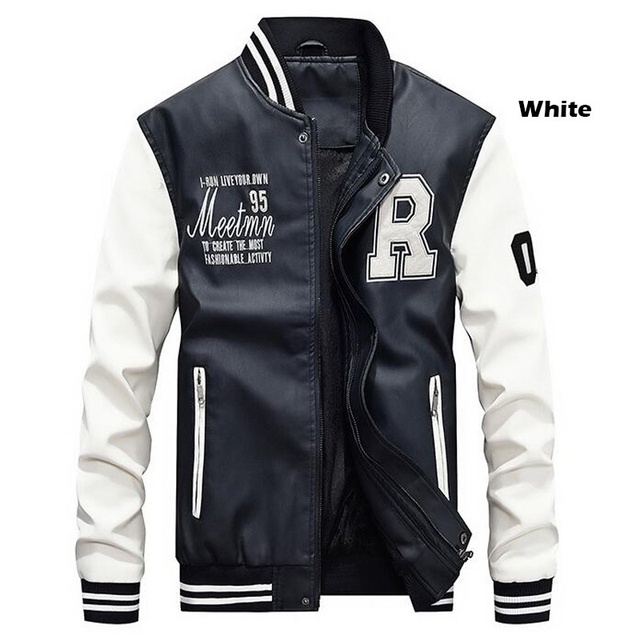 Men Baseball Jacket Embroidered Leather Pu Coats Slim Fit College Fleece Luxury Pilot Jackets Men's Stand Collar Top Jacket Coat 25