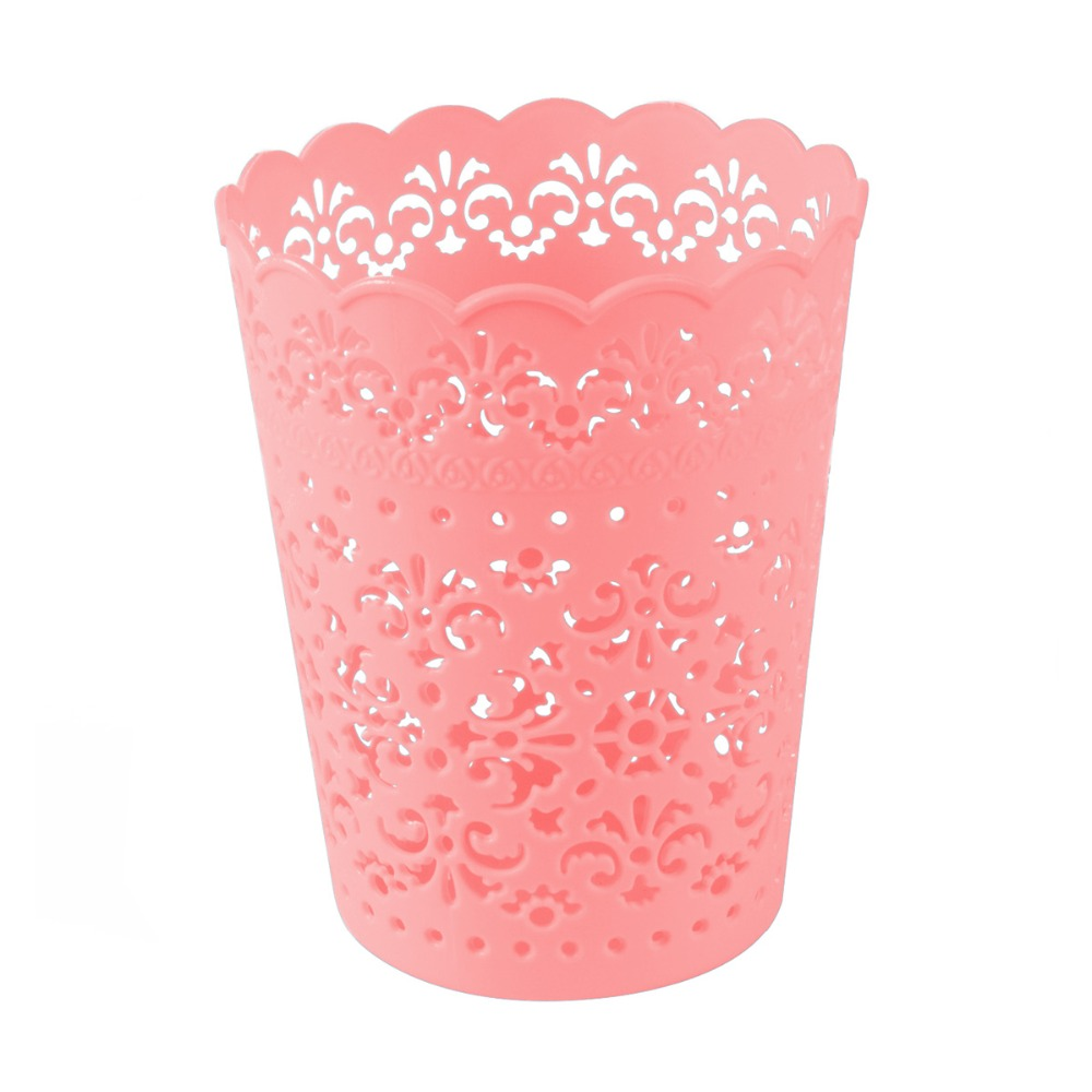 Small Sweet Lace Plastic Flower Trash Can Bin Storage Mini