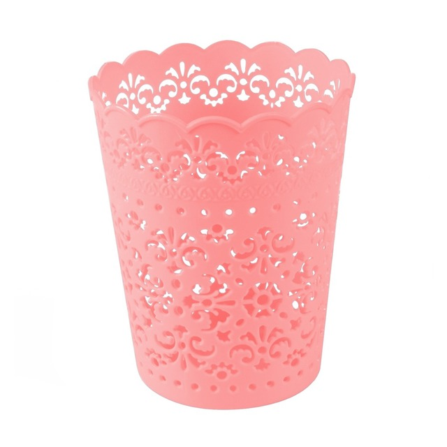 small sweet lace plastic flower trash can bin storage mini desktop trash can office desktop organizer