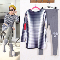 Maternity Suits Pregnant Striped Shirt Leggings Pants Long Sleeved T Shirt Set For Women Clothing Spring