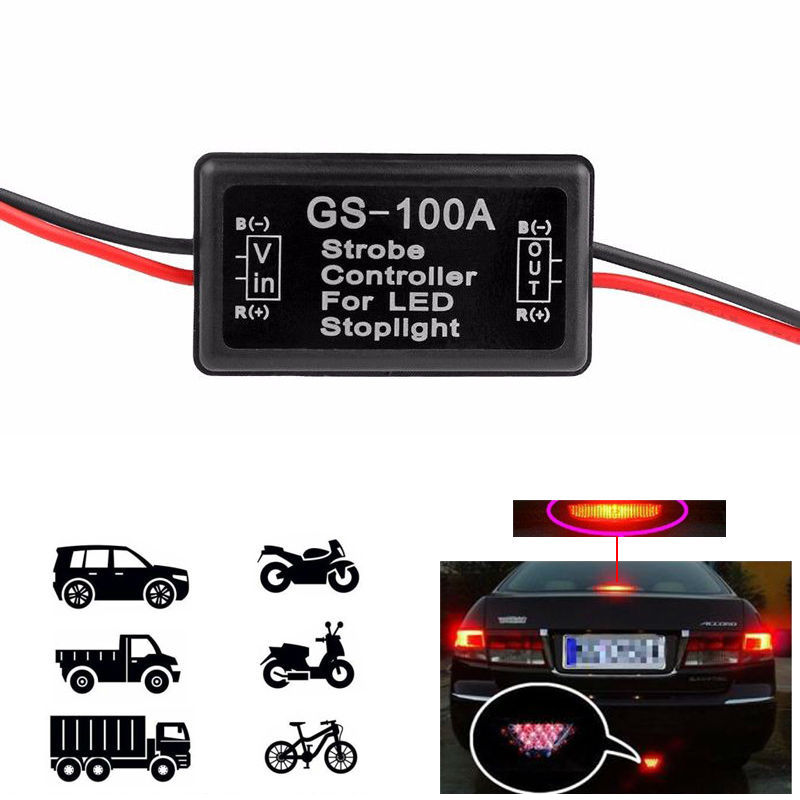 1Pcs New GS-100A Flash Strobe Controller Module Led Flashing Back Rear Brake Stop Light Lamp Controller 12-24V